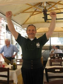 Our awesome waiter, Super Mario!