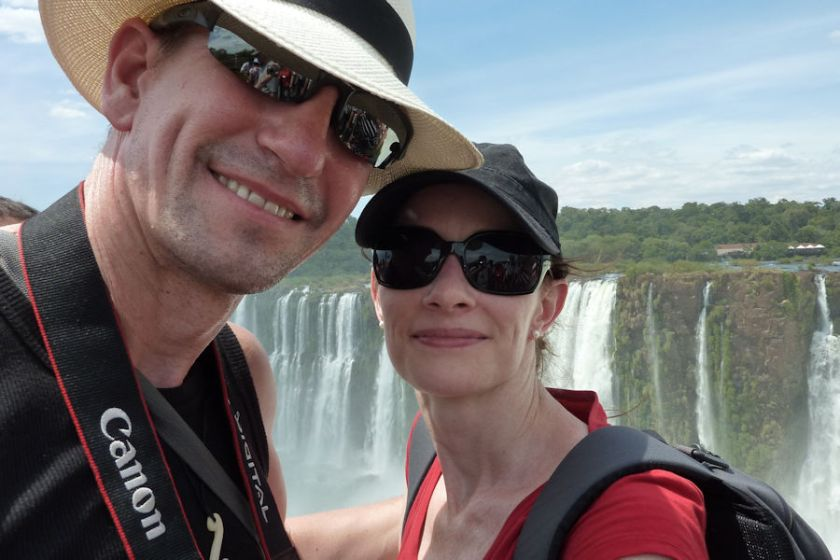 Paul and Sandra at Iquazu Falls Argentina