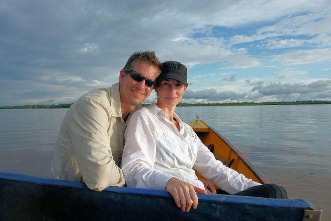 Paul and Sandra on Amazon River Peru
